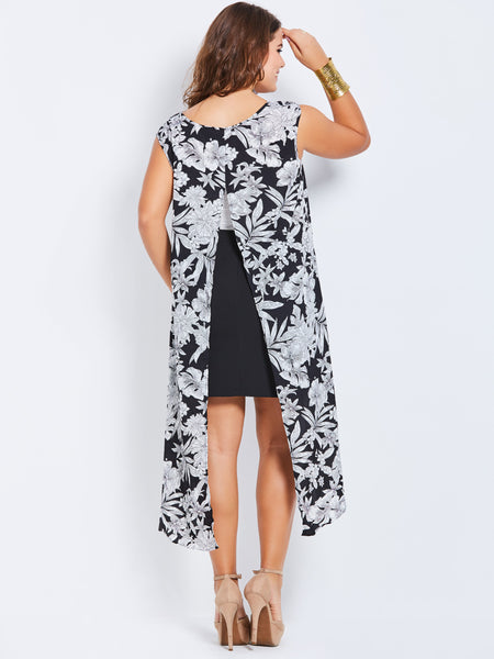 Chicloth Black and White Floral Sleveless High Low Blouse - Chicloth