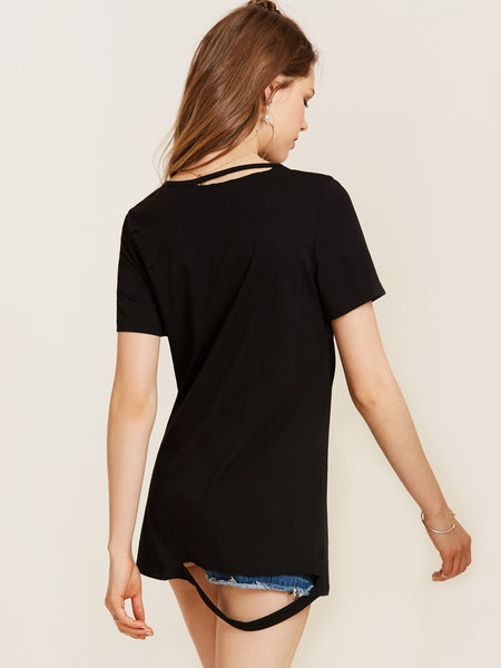 Chicloth Black Embroidered Round Neck T-shirt