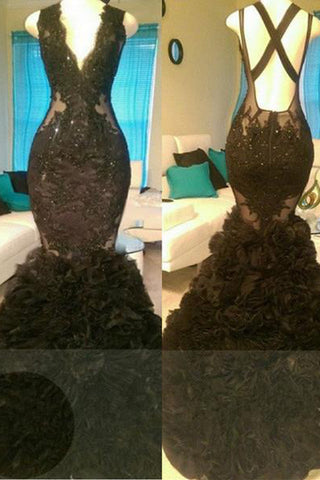 A| Chicloth Glamorous Black Mermaid V-Neck Tulle Appliques Open-Back Prom Dress-Prom Dresses-Chicloth