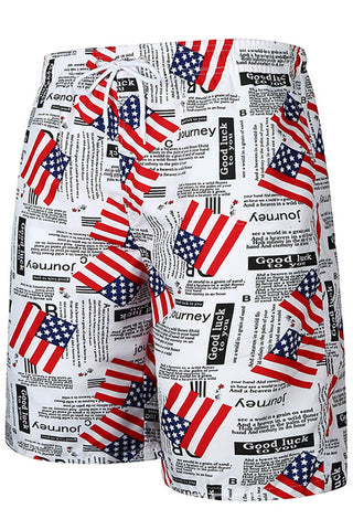 A| Chicloth American Flag Print Mens Swim Beach Shorts