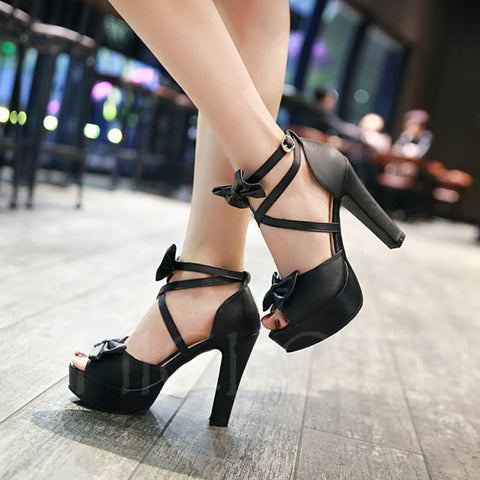 Chicloth Sweet Bow Buckle High Heel Platform Shoes For Women-Chicloth