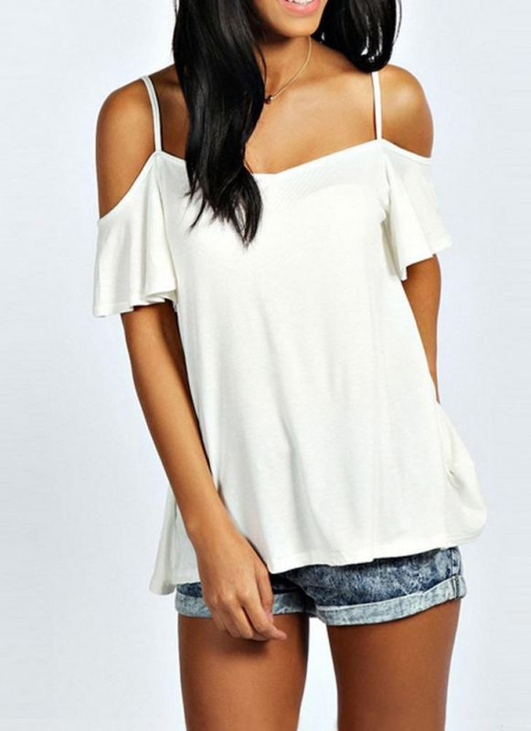 B/ Chicloth Summer Off Shoulder Short Sleeve Solid Color Women's Casual T-shirt - White / 3XL