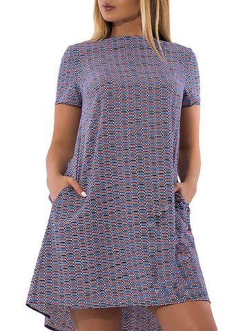 B| Chicloth Plus Size Geometric Print Short Sleeve Casual Loose Mini Dress-polyester,mini,bateau,plussizedresses-Chicloth