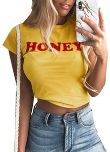 B| Chicloth Women Crop Top Honey Letter Print Casual Slim Short T-shirt Tees-chinlon,jewel,shortsleeves,tshirts,adult-Chicloth