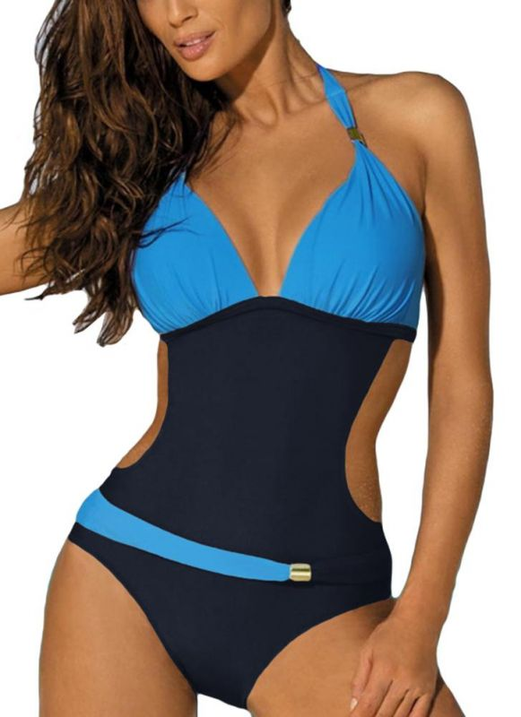 B/ Chicloth Women's Contrast Color Block Halter Backless One Piece Swimsuit - Sky Blue / M