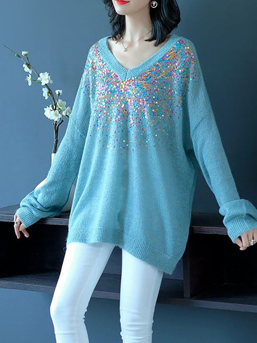 Blue V neck Long Sleeve Shift Sweaters-Sweaters-Chicloth