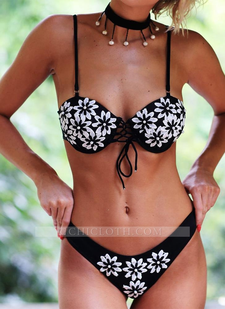 C| Chicloth Floral Embroidered Faux Pearl Beading Bandage Lace Up Hollow Out Bikini-polyester,nylon,bikinis-Chicloth
