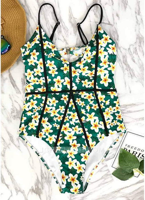 C| Chicloth Women One-Piece Swimsuit Floral Print Cut Out Back Swimwear Playsuit Jumpsuit Rompers-polyester,nylon,onepieceswimsuit-Chicloth