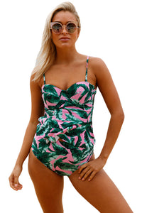Chicloth 2pcs Green Leaf Print Pink Flounce Tankini Swimsuit