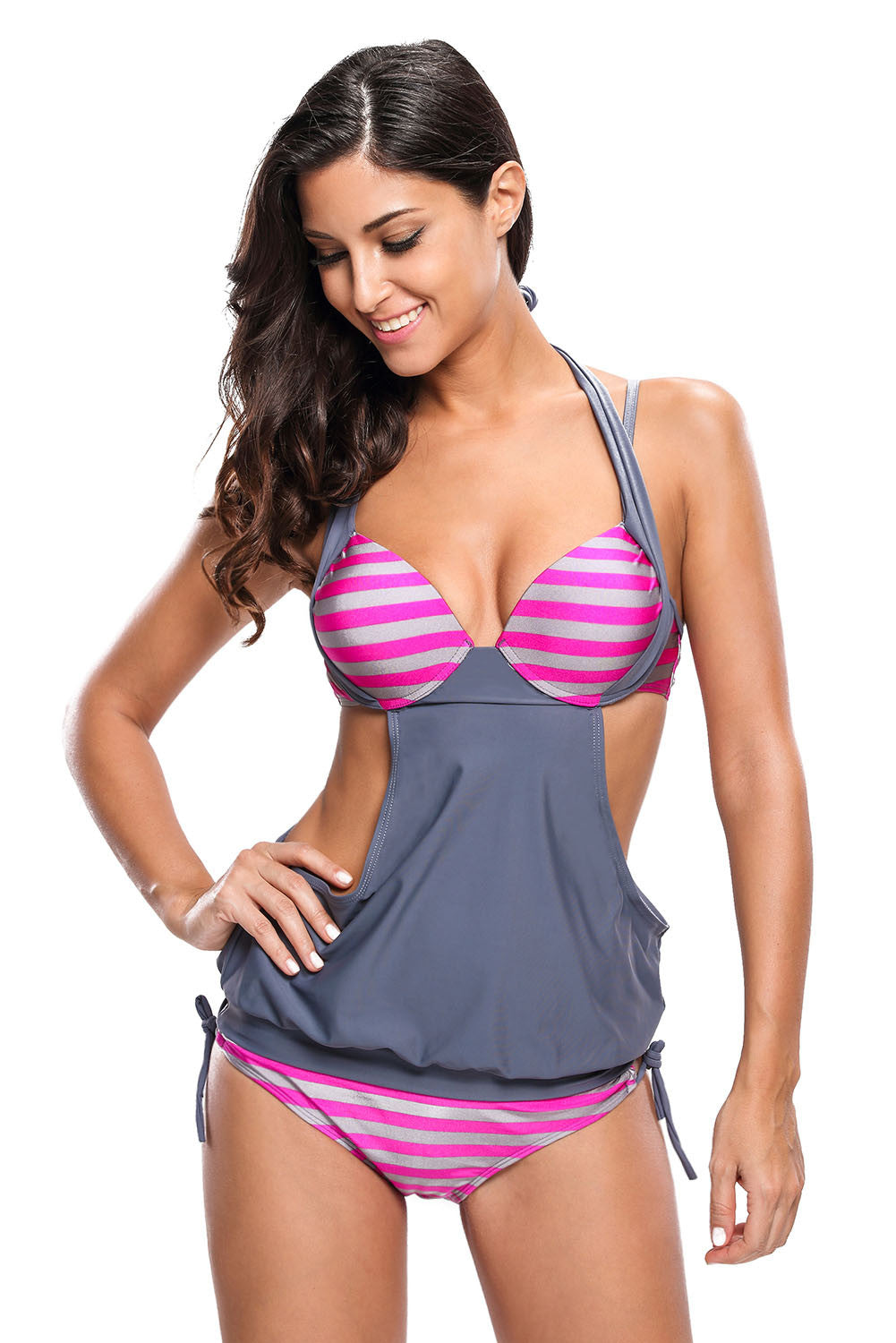 Chicloth 2pcs Solid Grey Splice Striped Halter Tankini Swimsuit