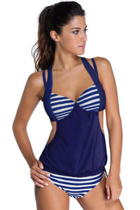 Chicloth 2pcs Solid Navy Splice Striped Halter Tankini Swimsuit