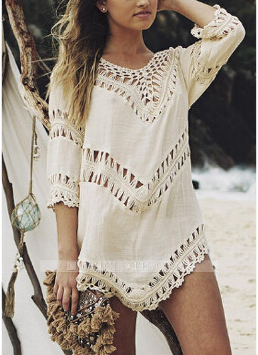 1d7d76fd33 B| Chicloth size Women Beach Cover Ups Hollow Out Crocheted Lace Deep V  Neck Asymmetrical