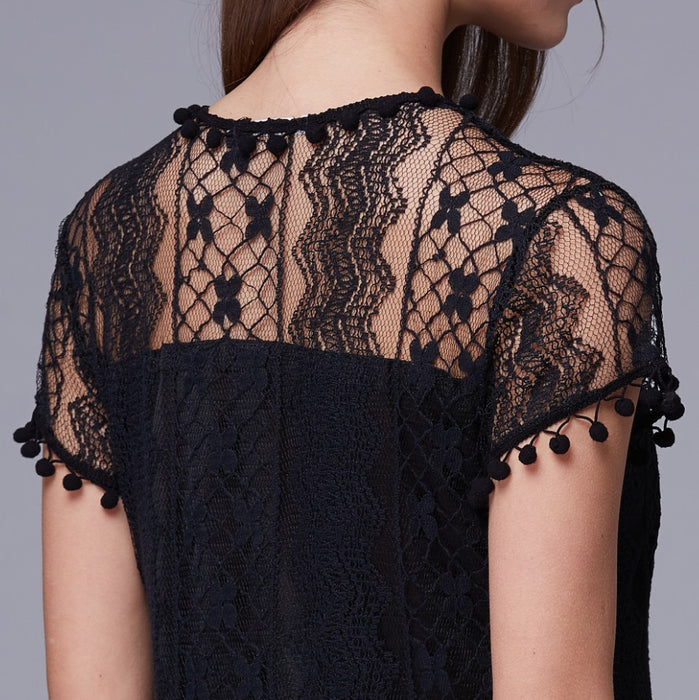A| Chicloth Solid Lace Cap Sleeve Shift Dress-Chicloth