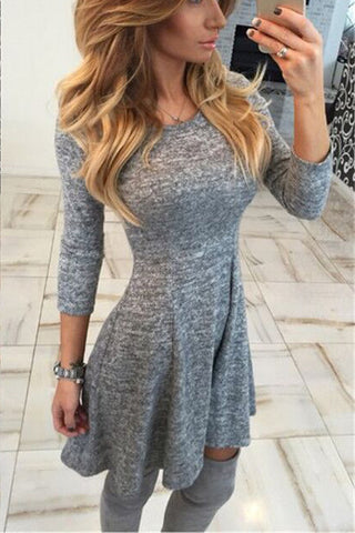 A| Chicloth Crew Neck Curved Hem Ikat Skater Dresses Midi Dresses-Midi Dresses-Chicloth