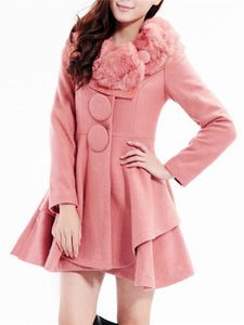 Chicloth Faux Fur Collar Peplum Plain Long Sleeve Coats