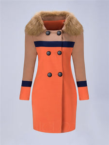 Chicloth Faux Fur Collar Double Breasted Color Block Woolen Coat