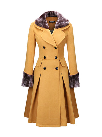 Chicloth Classical Double Breasted Faux Fur Collar Swing Woolen Coat