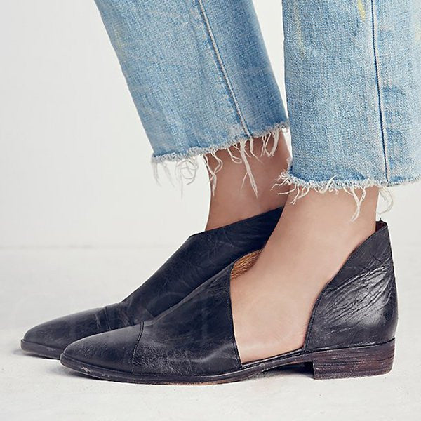 A| Chicloth Hollow-out PU Casual Pointed Toe Flats