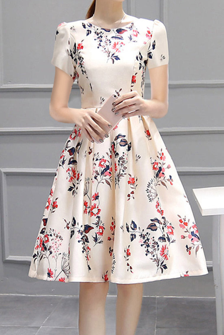 A| Chicloth Inverted Pleat Floral Printed Puff Sleeve Round Neck Skater Dress
