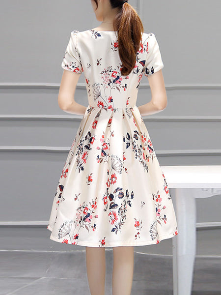 A| Chicloth Inverted Pleat Floral Printed Puff Sleeve Round Neck Skater Dress-Chicloth