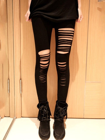 New York Fashion Hot Irregular Hole Black Imitation Leather Cropped Leggings