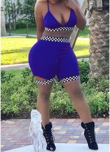 Women Checkboard Two Piece Set Summer Outfits Crop Top Shorts Club Tracksuits