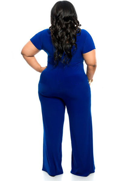 B| Chicloth Blue Ployester Casual Jumpsuits