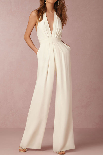 A| Chicloth Halter Pocket Plain Wide-Leg Jumpsuit-Jumpsuits-Chicloth