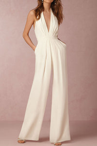 Chicloth Halter Pocket Plain Wide-Leg Jumpsuit - Chicloth