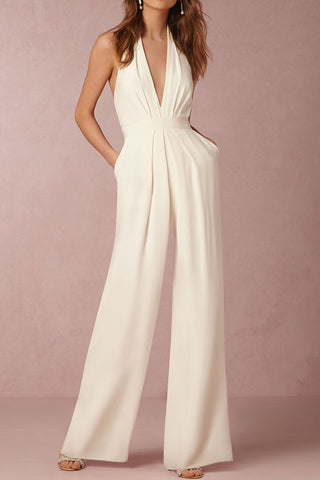 A| Chicloth Halter Pocket Plain Wide-Leg Jumpsuit - Chicloth