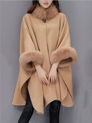 Chicloth Faux Fur Collar Frayed Trim Plain Batwing Sleeve Coat