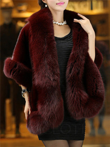 Chicloth Faux Fur Collar Plain Cape Sleeve Coat