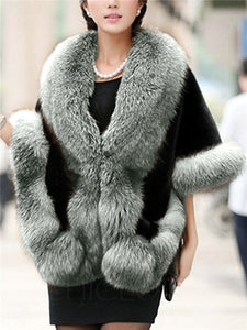Chicloth Luxury Faux Fur Collar Cape Sleeve Coat