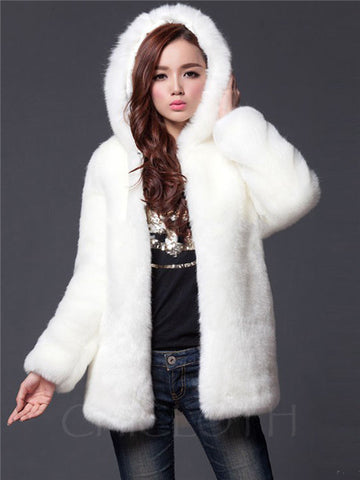 Chicloth Hooded Faux Fur Solid Pocket Coat