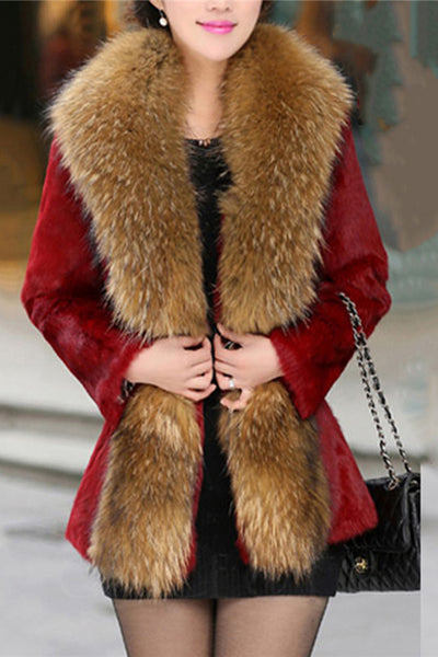 Chicloth Contrast Lapel Elastic Waist Single Button Faux Fur Coat-Faux Fur Coats-Chicloth