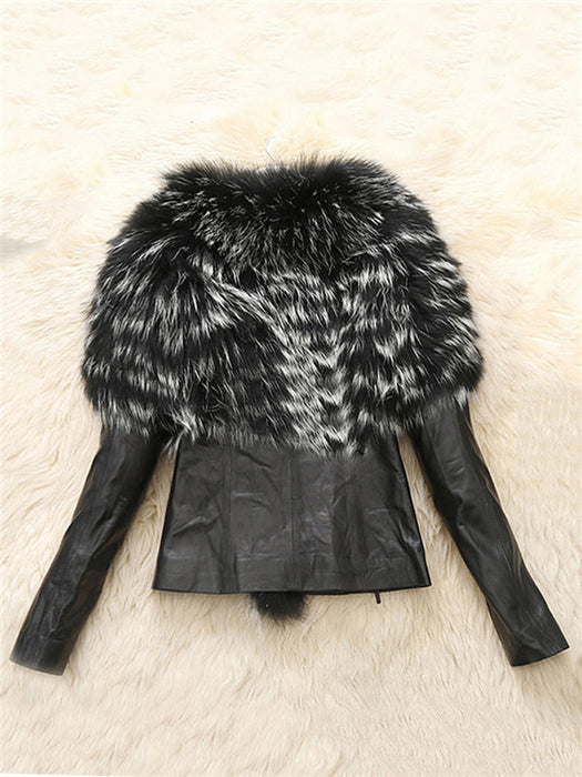 Chicloth Faux Fur Collar Slit Pocket Long Sleeve Coats-Faux Fur Coats-Chicloth