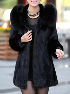 Chicloth Luxury Black Hooded Faux Fur Coat
