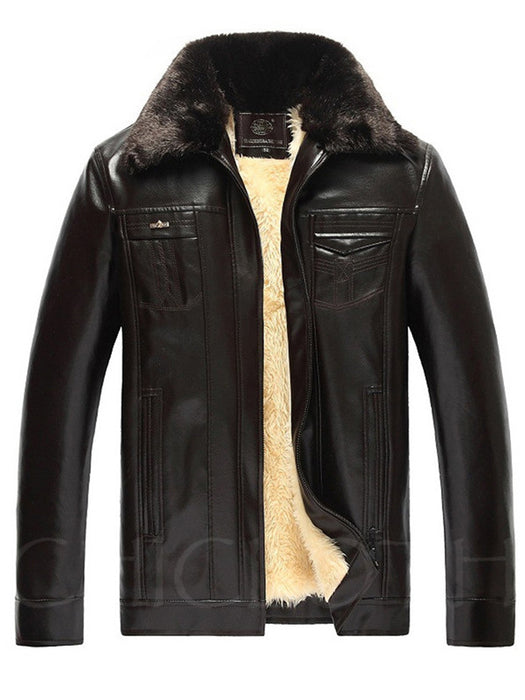Chicloth Detachable Faux Fur Collar Fleece Lined PU Leather Men Coat-Faux Fur Coats-Chicloth