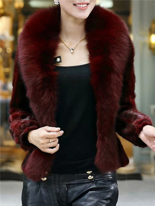 Chicloth Lapel Plain Faux Fur Coat-Faux Fur Coats-Chicloth