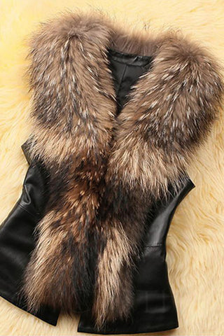 Chicloth Faux Fur Collar Plain PU Leather Waistcoat