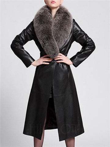 Chicloth Faux Fur Collar Belt Longline PU Leather Coat