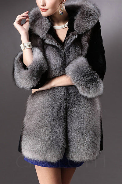 Chicloth Exquisite Hooded Faux Fur Coat-Faux Fur Coats-Chicloth