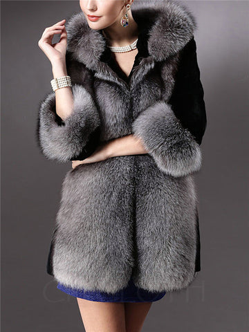 Chicloth Exquisite Hooded Faux Fur Coat
