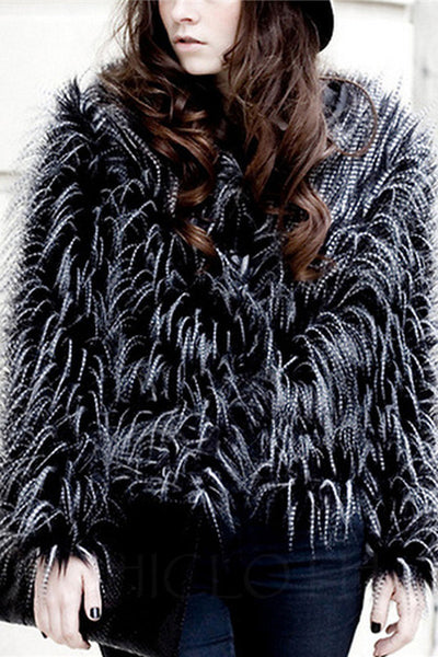 Chicloth Collarless Shaggy Faux Fur Coat-Faux Fur Coats-Chicloth