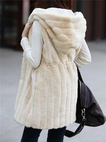 Chicloth Hooded Drawstring Plain Striped Faux Fur Sleeveless Coat-Faux Fur Coats-Chicloth