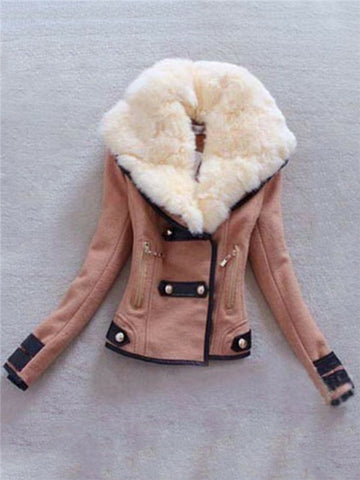 Chicloth Faux Fur Collar Pocket Jacket