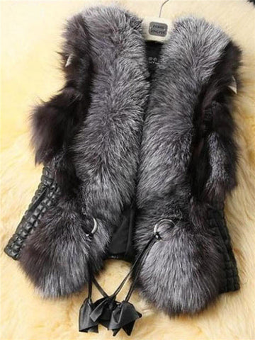 Chicloth Faux Fur Collar Pocket PU Leather Plain Waistcoat
