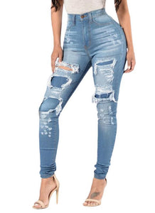 Casual Pocket Washed Ripped Hole Mid Waist Women's Denim Jeans