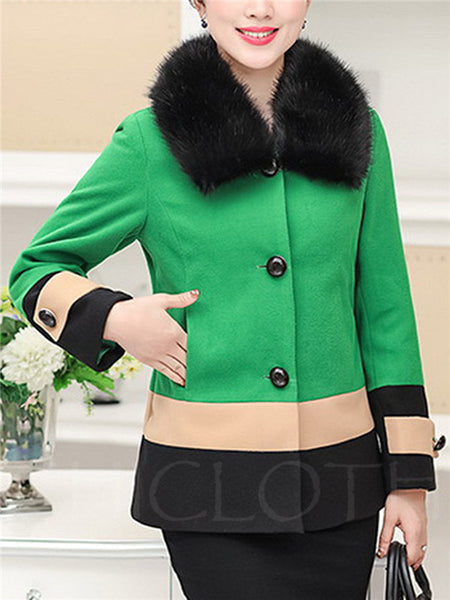 Chicloth Faux Fur Collar Color Block Woolen Coat-Faux Fur Coats-Chicloth