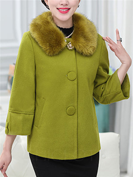Chicloth Detachable Faux Fur Collar Single Breasted Plain Woolen Coat-Faux Fur Coats-Chicloth